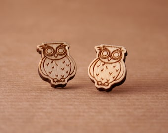 Laser cut wooden earrings - Owls earrings