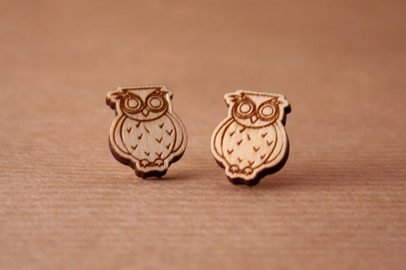 Laser Cut Wooden Earrings Owls Earrings