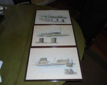Vintage Watercolor Etchings of a view in Galveston Bay. (set of 3) by Vic Bowen