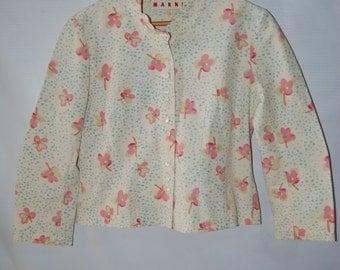 Vtg Marni Floral Cotton Cropped Jacket Top