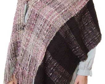 Handwoven poncho shawl women wool cape large wool shawl brown shawl wool shawl shrug wool coat woven wrap wool poncho wool cape fall winter