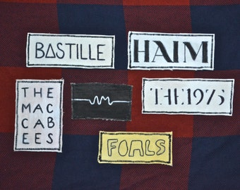 Band Patches- Haim, Bastille, Foals, Arctic Monkeys, The 1975, and The Maccabees