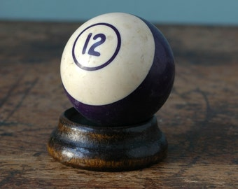 Made In Belgium Billiard Pool Ball 12 Purple Violet White Striped Paperweight Decor Bakelite Retro Pool Display Man Cave Number Old