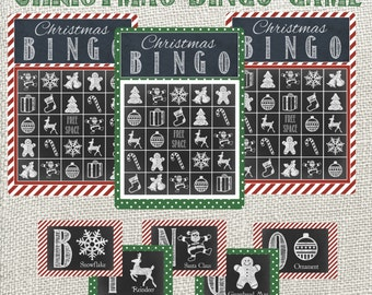 Deluxe Christmas BINGO Game! 24 game cards plus calling cards. Christmas Chalkboard Bingo. Instant Digital Download