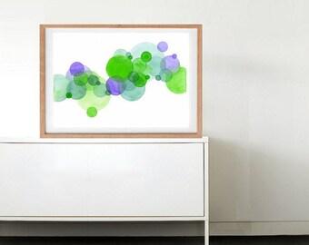 Green Purple Circles Original Abstract Watercolor Painting Art Print, Home Decor Art, Wall Art, Art with Circles, House Warming Gift