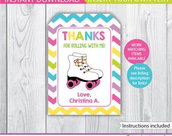 Roller Skating favor tags / Roller Skating gift tags / Roller Skating Decoration / Roller Skate favor tags / Roller Skate Printable INSTANT