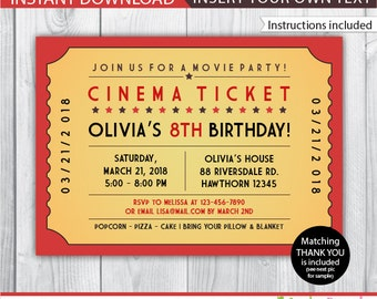 Movie ticket invite | Etsy
