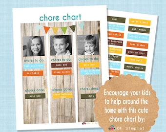 Job Chart / Chore Chart Wooden looking Printable  including common chores and blank chores to customize