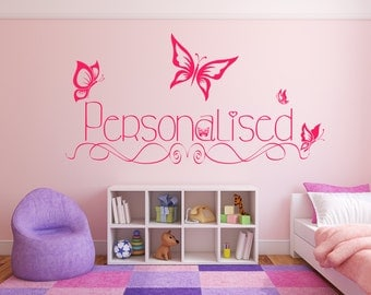 Personalized name with butterflies. Vinyl wall art decal sticker quote. Any color and size.(#3)