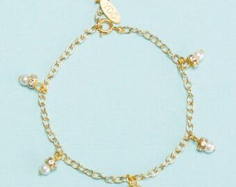 Sparkling Pearl Raindrop Charm Bracelet, Handmade