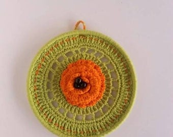 Embroidery Hoop Wall Hanging Art Doily Wall Decor crochet modern art green decor retro art Doily Art in green and orange