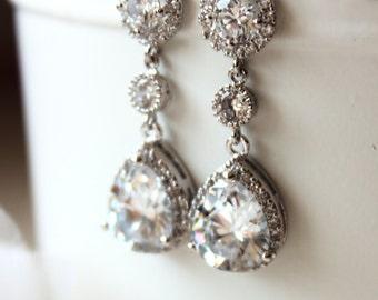 Crystal Bridal Earrings Bridal Jewellery Wedding Earrings Clear white Luxury teardrop cubic zirconia Earrings Wedding Jewelry