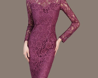 Purple Bridesmaid Dress Mother of The Bride Dress Plus Size Sheath Wedding Dress Long Sleeve Formal Dress Vestido Vintage CW60