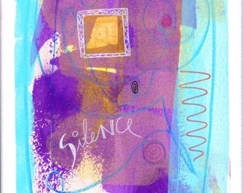 silence: original painting, mixed media, on paper on canvas (30x24 cm)