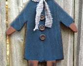 Primitive Cat - Solid Wood - Blue Dress with Wood Buttons, OFG, FAAP, HAFAIR