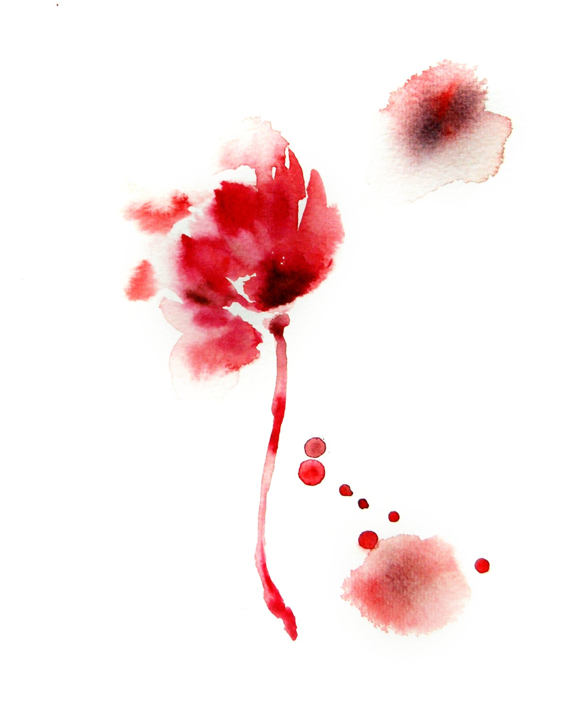 Abstract Minimalist Flower Watercolor Painting by ...