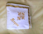 Christening towel, Personalized Embroidered Blanket, Christening blanket , Vintage Baby Blanket