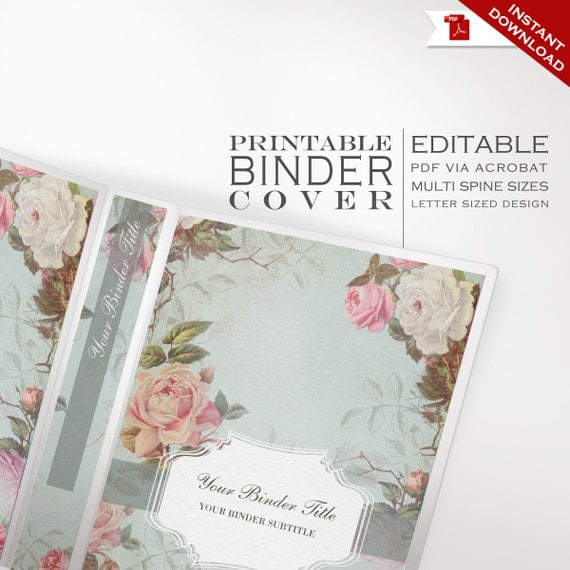 Free Vintage Book Cover Template ~ Binder cover printable editable french country vintage rose