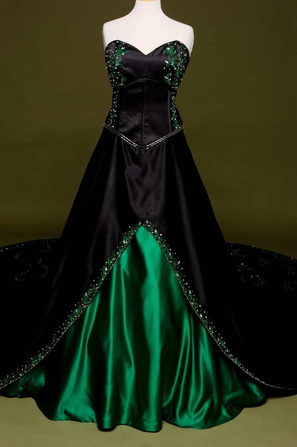 Black Wedding Dress with Green Embroidery Custom Made in