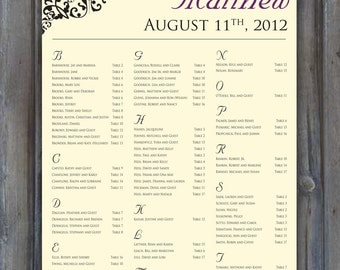 PRINTABLE Wedding Seating Chart • Black Embellishment • Purple • Cream Background • Alphabetical Guest List • Reception Seating Assignment