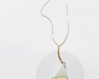 gold dipped necklace geometric pendant necklace white and gold necklace stylish necklace minimalist jewelry long gold necklace gift for her