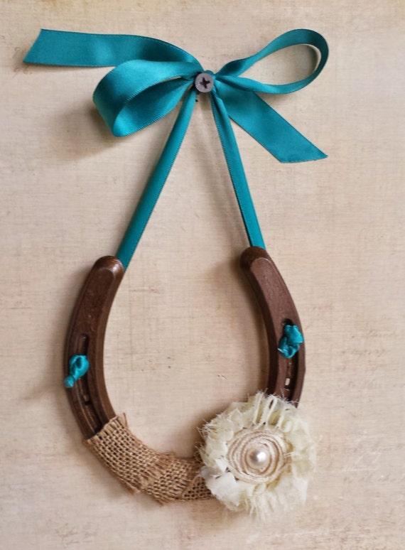 Good luck horseshoe wall hanging shabby chic decor wedding for How to decorate horseshoes