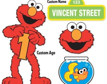 Custom Printable Sesame Street Elmo Centerpiece Displays / Elmo Birthday / Cake Topper