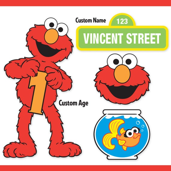 Custom printable sesame street elmo centerpiece displays like this item pronofoot35fo Choice Image