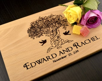 Engraved Cutting Board, Custom Wedding Gift, Personalized Anniversary Gift, Housewarming Gift, Wooden Cutting Board, Valentines Day Gift