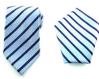 Mens Necktie Blue Floral Paisley 8.5 CM Necktie and Pocket Square. Wedding Tie. Blue Tie Pocket Square. Matching Necktie and Pocket Square