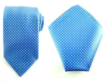 Mens Necktie Blue White Polka 8.5 CM Necktie with Pocket Square. Sky Blue Wedding Necktie. Necktie Pocket Square. Groomsmen Neckties. Hanky
