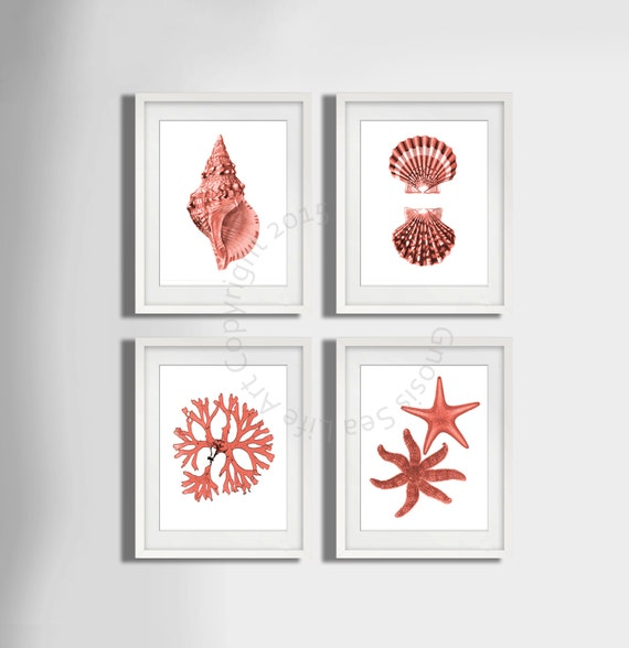 Pale Coral Wall Art Set Of 4 Beach Decor By Gnosissealifeart