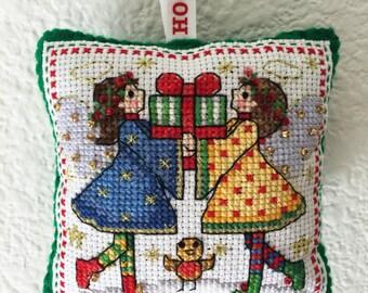 Handmade Cross Stitch Christmas Ornament, Christmas Tree Decoration, Cross Stitch Christmas decoration, Angel Twins