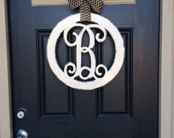 Circle Monogram Door Hanger, 18 in, Initial Door Hanger, Monogram Letter Door Hanger, Front Door Wreath, Wedding, Housewarming, Birthday