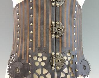 Abigail 3XL - Custom Leather Underbust Corset - Waist Cincher Steampunk, Victorian Corset