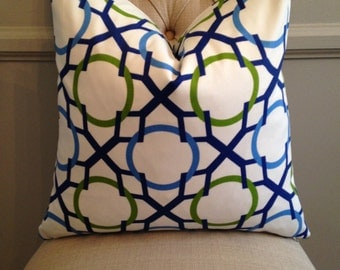 Handmade Decorative Pillow Cover - Blue and Green Geometric - Lattice - Navy Royal Green
