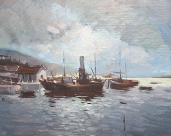 Contemporary art oil painting seascape ship