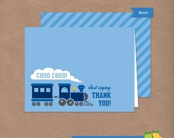 Choo Choo Train Thank You Card // DIY Printable Folded Thank You Note // Instant Download