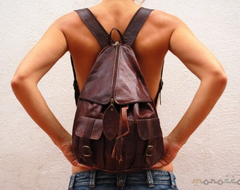 "20% OFF ""20FLY"" Brown chocolate Leather Backpack Multi Pocketed with zip. Woman. High Quality. Moroccan. Back to School."