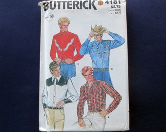 1980s Mens Western Shirt with Transfer Uncut Vintage Pattern, Butterick 4181, Chest 42, Neck 16