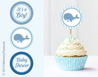 Whale Baby Shower Cupcake Toppers Printable Baby Shower Cup Cake Toppers  Cupcake Decorations DIY Boy Baby Shower Itu0027s A Boy Blue Whale Theme