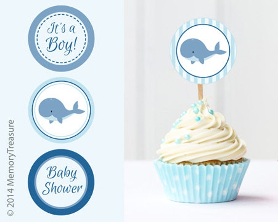 whale baby shower cupcake toppers printable baby shower cup cake toppers cupcake decorations diy boy baby shower itu0027s a boy blue whale theme from