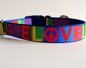Peace & Love Rainbow Collar or Leash - Ready to Ship!