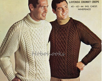 94431fa220318 mens chunky cable sweater knitting pattern 1960s crew neck polo neck 40-44  inches Chunky bulky mens knitting patterns PDF instant download