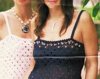 Womens CROCHET PATTERN Ladies Crochet Tops Womens Crochet Tops Beaded Crochet Tops 4 Ply Top 28-38inch 4Ply Cotton Yarn PDF Instant Download