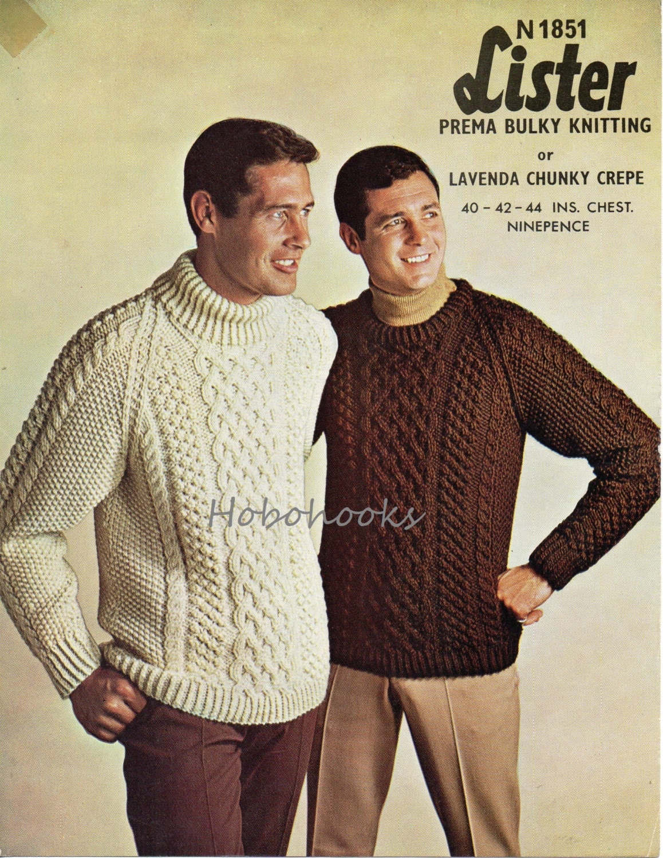 Chunky Mens Jumper Knitting Patterns - Sweater Grey