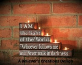 I am the Light of the World, Easter, Parent Gift, Mother, Grandparent, Scripture, Candle, Wood, John 8 12, Christian Gift, Birthday