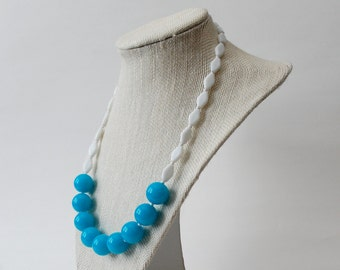 SALE 1960s Vintage-Inspired Necklace / Vintage Beads with New Bright Turquoise Acrylic Beads / Sherry Darling Necklace