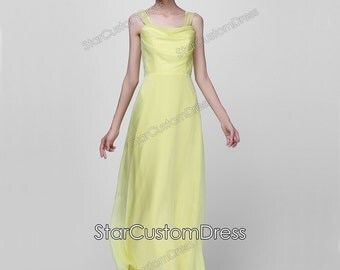 Daffodil Long Bridesmaid Dress Long 30D Yellow Chiffon Dress Long Prom Dress