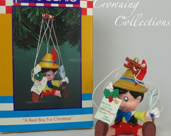 Enesco A Real Boy for Christmas Ornament Pinocchio Disney Treasury Puppet RARE Vintage